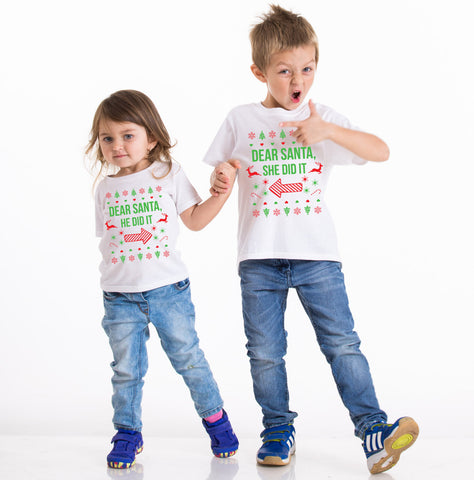 Kids Christmas shirt, Kids Christmas outfit , Sibling shirts, Dear Santa she did it, Dear Santa he did it, brother sister Christmas shirts
