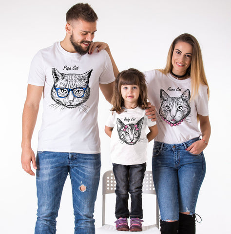 Family shirts, Family outfits, Papa Cat, Mama Cat, Little Cat, Baby Cat, Matching Family Shirts, Animal Shirts,  UNISEX