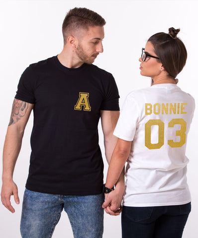 Bonnie Clyde couples shirts with custom initials on front and custom numbers on back, GOLD EDITION, UNISEX