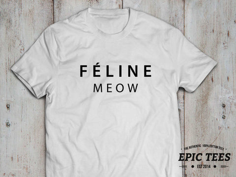 Feline Meow T-shirt, 100% cotton Tee, Black/White, UNISEX