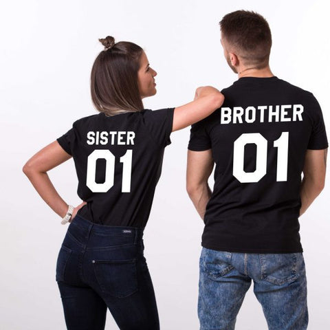 Brother 01 Sister 01, Couples Matching Set of Shirts