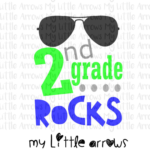 2nd grade rocks SVG, DXF, EPS, png Files for Cutting Machines Cameo or Cricut - first day of school svg - boy svg - 2nd grade boy svg - Modern cute cut embroidery and applique files.  SVG, DXF, EPS, PNG, PDF, JEF, PES, PEC, XXX, HUS, EXP, VIP, DST