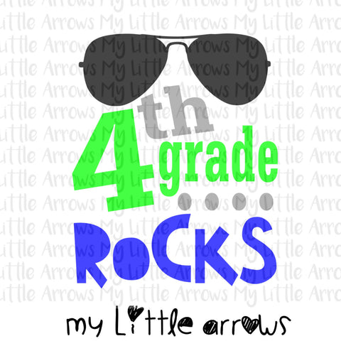 4th grade rocks SVG, DXF, EPS, png Files for Cutting Machines Cameo or Cricut - first day of school svg - boy svg - 4th grade boy svg - Modern cute cut embroidery and applique files.  SVG, DXF, EPS, PNG, PDF, JEF, PES, PEC, XXX, HUS, EXP, VIP, DST