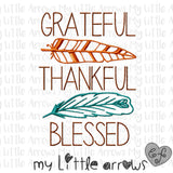 Grateful Thankful Blessed feathers Embroidery