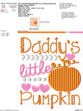Daddys little pumpkin embroidery design 5x7 - girl halloween embroidery - girl pumpkin embroidery - cute halloween embroidery - cute fall