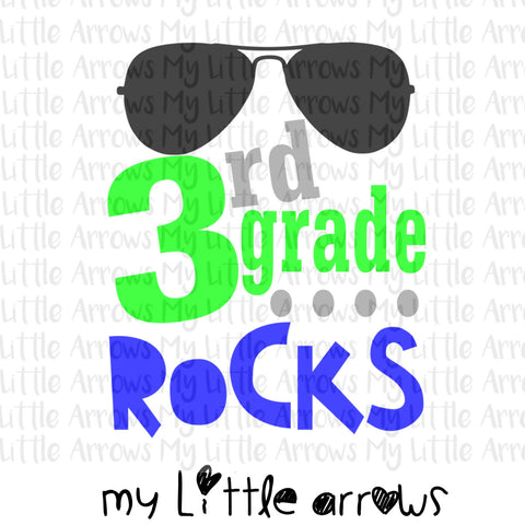 3rd grade rocks SVG, DXF, EPS, png Files for Cutting Machines Cameo or Cricut - first day of school svg - boy svg - 3rd grade boy svg - Modern cute cut embroidery and applique files.  SVG, DXF, EPS, PNG, PDF, JEF, PES, PEC, XXX, HUS, EXP, VIP, DST