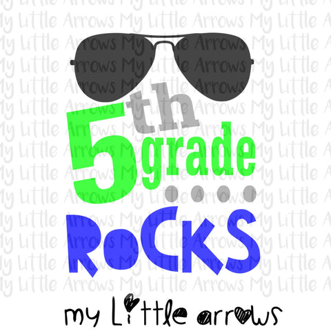 5th grade rocks SVG, DXF, EPS, png Files for Cutting Machines Cameo or Cricut - first day of school svg - boy svg - fifth grade boy svg - Modern cute cut embroidery and applique files.  SVG, DXF, EPS, PNG, PDF, JEF, PES, PEC, XXX, HUS, EXP, VIP, DST