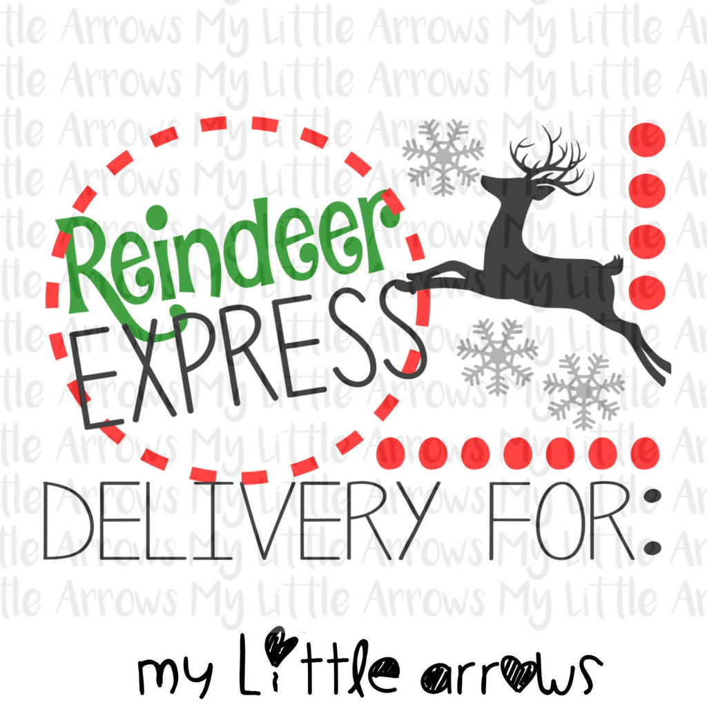 Reindeer express SVG, DXF, EPS, png Files for Cutting Machines Cameo or Cricut - kid svg  - gift tag svg // diy santa sack // diy christmas