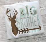 Deer big brother arrow 4x4 5x7 6x10 embroidery file - cute kids design - childrens shirt diy - embroidery design -arrow brother design