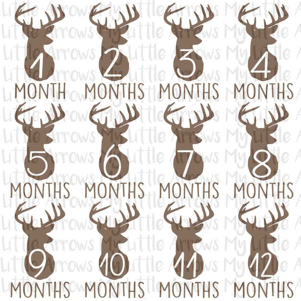 Baby monthly deer stickers SVG, DXF, EPS, png Files for Cutting Machines Cameo or Cricut - newborn svg - birth svg - monthly stickers - deer - Modern cute cut embroidery and applique files.  SVG, DXF, EPS, PNG, PDF, JEF, PES, PEC, XXX, HUS, EXP, VIP, DST
