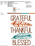Grateful thankful blessed 5x7 6x10 embroidery file - JEF file -thanksgiving shirt - thanksgiving embroidery file - feathers emboidery