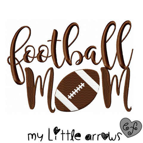 Football mom embroidery design 4x4 5x7 6x10 - jef file - pes file - football embroidery file - football season - football shirt - sports mom - Modern cute cut embroidery and applique files.  SVG, DXF, EPS, PNG, PDF, JEF, PES, PEC, XXX, HUS, EXP, VIP, DST