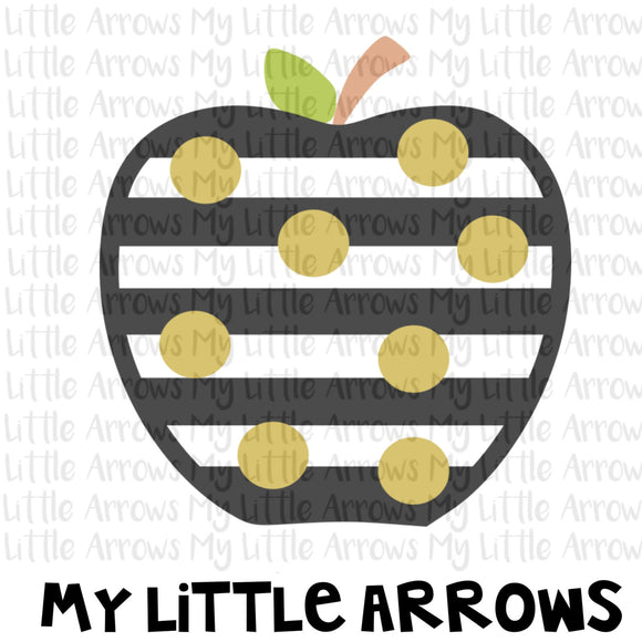Black and white stripe with gold dot apple svg