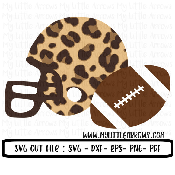 Leopard helmet and football SVG