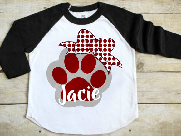paw print with bow svg