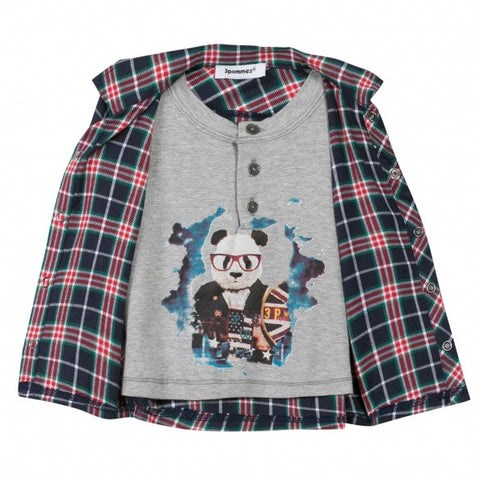 3 Pommes Checkered Shirt with Embedded Panda Tee