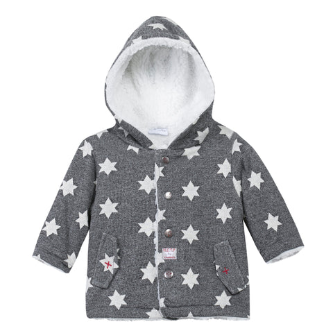 3 Pommes Reversible Star Printed Cardigan with Furry Lining