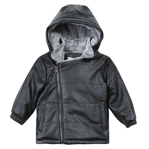 3 Pommes Black Leather Puffer with Fur Lining