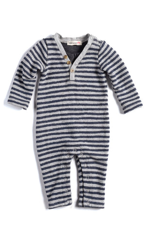 Appaman Houston Henley Romper with Grey Stripes