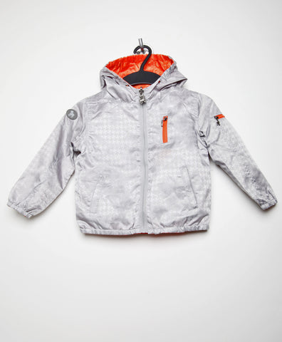 Frenchie Light Gray/Orange Reversible Rain Jacket Bomber