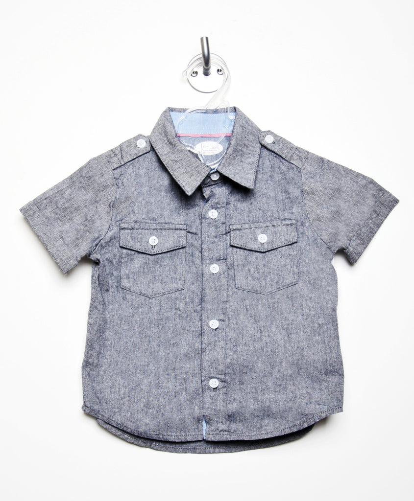 Gray Chambray Shirt with Blue Trim