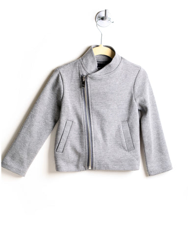 Side Zip Knit Moto Jacket (Gray)