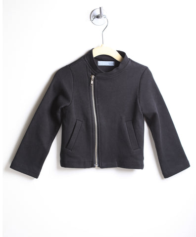 Side Zip Knit Moto Jacket (Black)