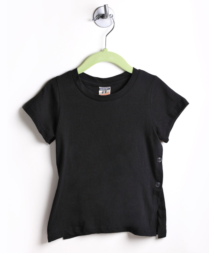 Side Button Tee (Black)
