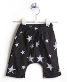 Distressed Starry Harem Shorts (Black/ White Stars)