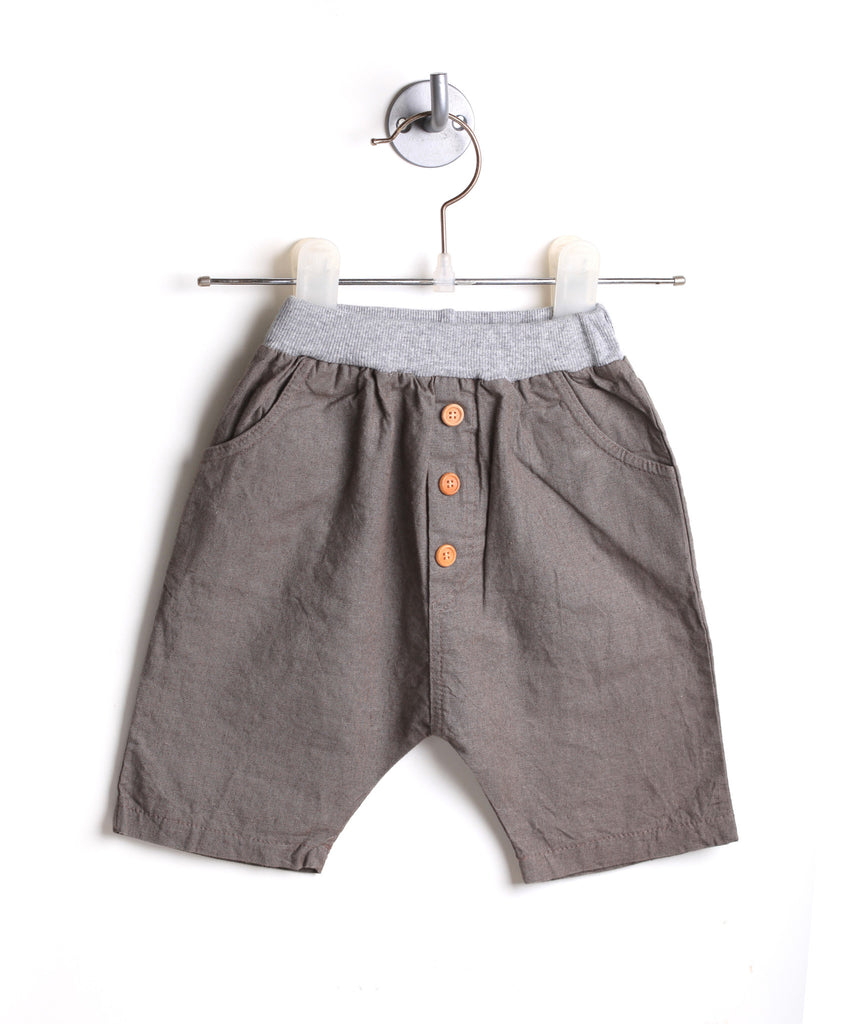 Linen Harem Shorts With Buttons (Coffee)