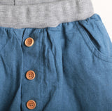 Linen Harem Shorts With Buttons (Sky Blue)