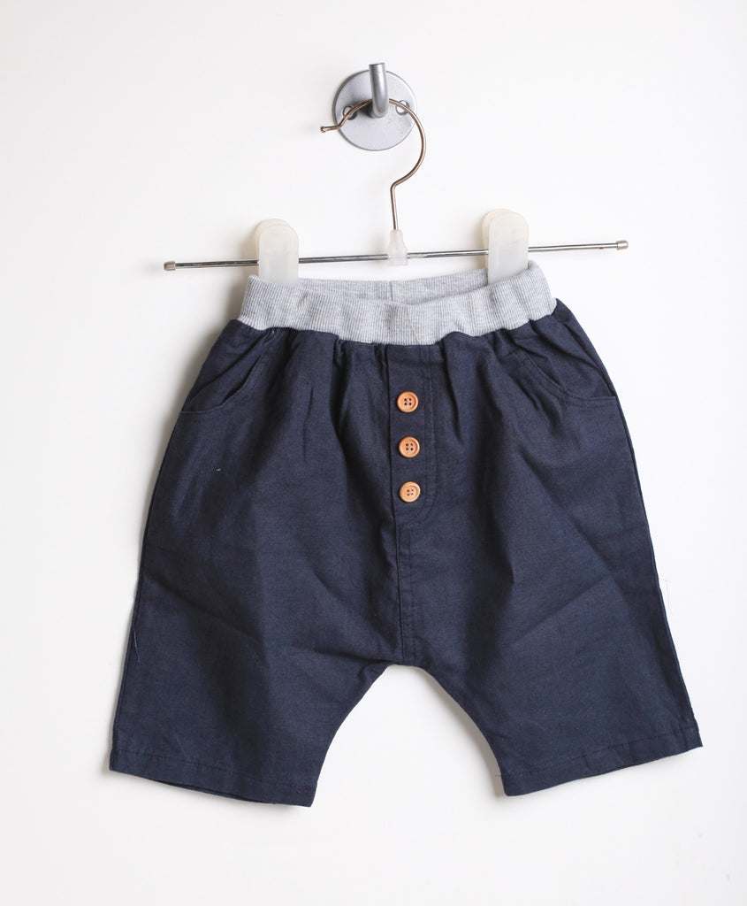 Linen Harem Shorts With Buttons (Navy)