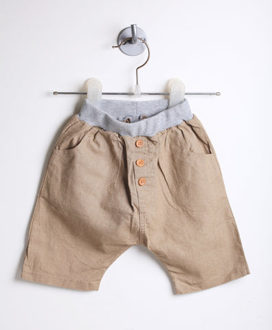 Linen Harem Shorts With Buttons (Khaki)