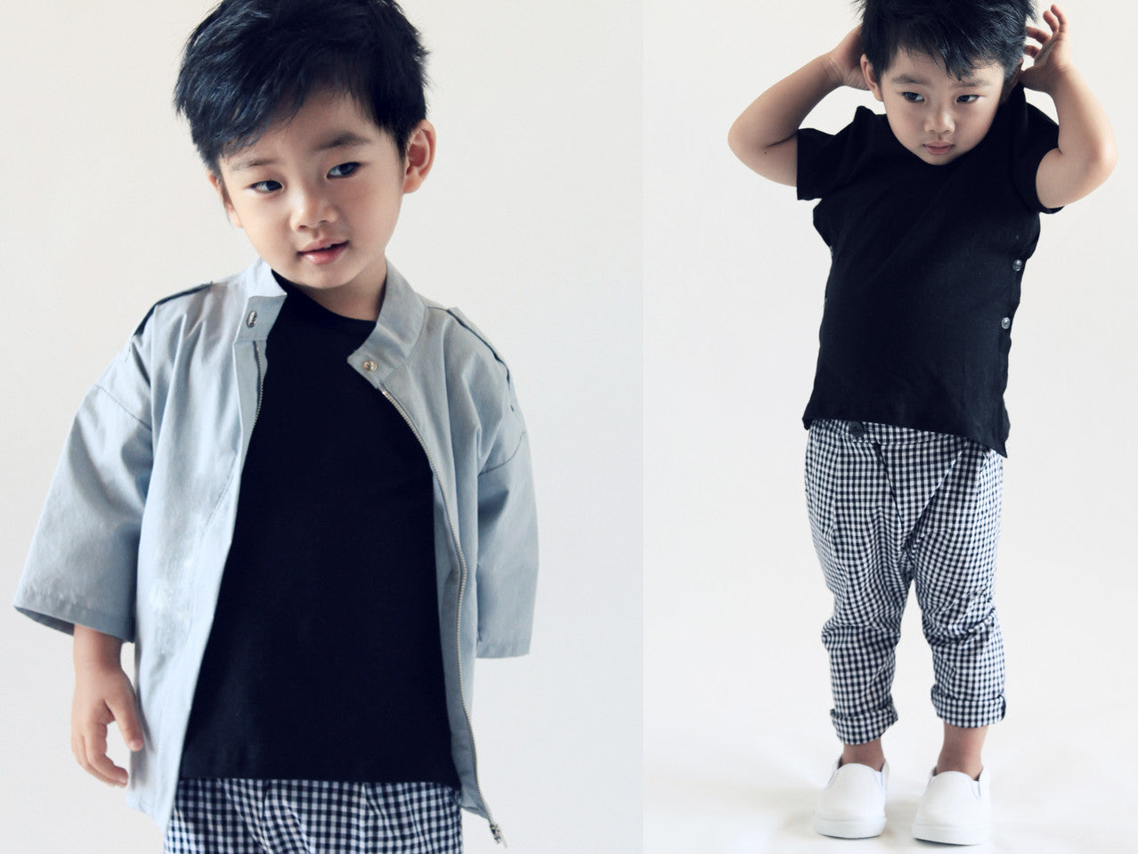 side button tee, black tee, trendy boys, trendy boy trousers, checkered pants, baby boy fashion, boy street style, baby boy styling
