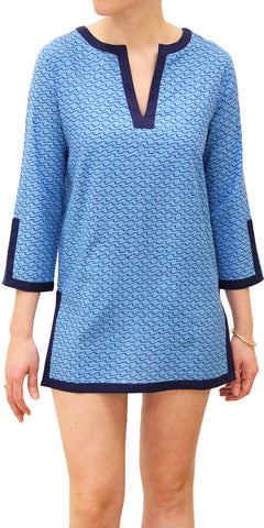 LONG SLEEVE COVER-UP WAVES SEA BLUE - FINAL SALE - Rikshaw Design - 2