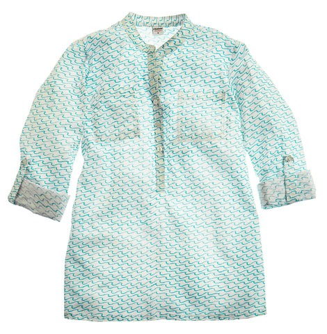 CAMP SHIRT WAVES TURQUOISE - FINAL SALE - Rikshaw Design - 2