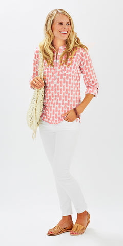 CAMP SHIRT PINEAPPLE PETUNIA PINK - FINAL SALE - Rikshaw Design - 1