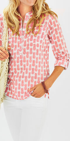 CAMP SHIRT PINEAPPLE PETUNIA PINK - FINAL SALE - Rikshaw Design - 2
