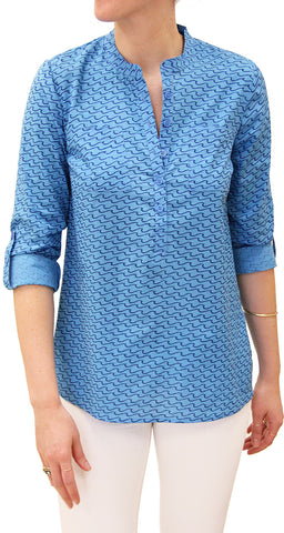 CAMP SHIRT WAVES SEA BLUE - FINAL SALE - Rikshaw Design - 2