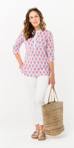 CECILE CAMP SHIRT LOBSTERS PERIWINKLE