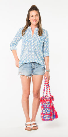 CECILE CAMP SHIRT MATILLE PERIWINKLE