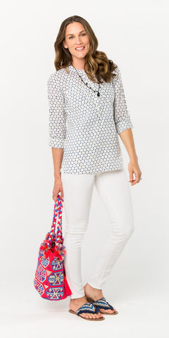 CECILE CAMP SHIRT POLKA DOT DENIM