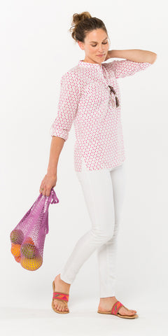 CECILE CAMP SHIRT POLKA DOT FUCHSIA