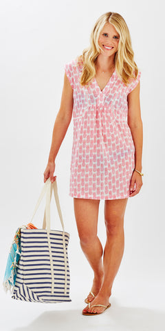 BEACH COVER-UP PINEAPPLE PETUNIA PINK - Rikshaw Design - 1