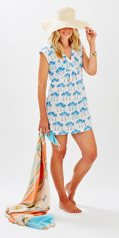 BEACH COVER-UP PALM TREE BLUE - FINAL SALE - Rikshaw Design - 1