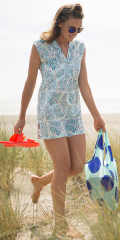 BEACH COVER-UP FERN SKY BLUE - FINAL SALE - Rikshaw Design - 1