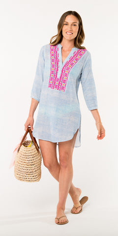 ALEXA EMBROIDERED COVER UP STRIPE PERIWINKLE