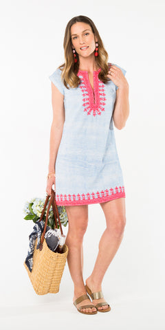 AUDREY EMBROIDERED SHIFT DRESS STRIPE PERIWINKLE
