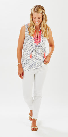 EMBROIDERED TASSEL TOP POLKA DOT DENIM - Rikshaw Design - 1