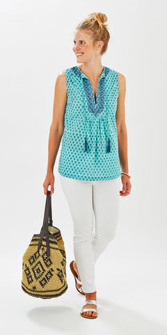 EMBROIDERED TASSEL TOP GEO MINT - FINAL SALE - Rikshaw Design - 2